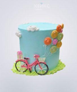 Торт Велосипед с воздушными шариками
