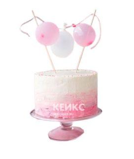 Бело-розовый торт с воздушными шариками