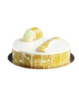 Желто-белый зеркальный торт