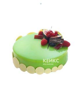 Зеленый зеркальный торт с ягодами
