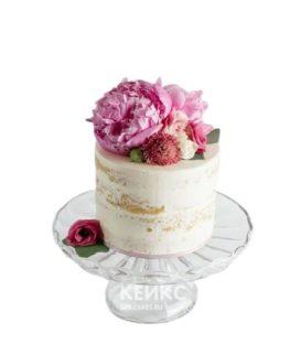 Торт с живыми цветами голый
