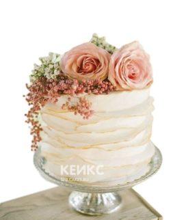 Торт с живыми цветами большие розы