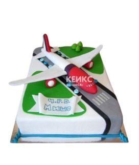 Торт самолет со взлетной полосой