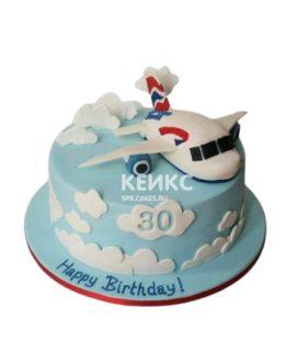 Торт на День рождения с самолетом из мастики