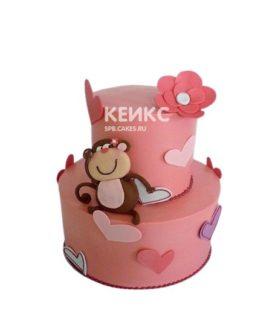 Розовый торт сердце с обезьянкой