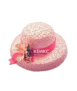 Торт розовая женская шляпа с ленточкой