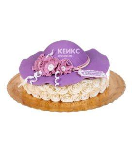 Торт сиреневая женская шляпа с цветами