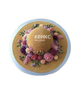 Торт соломенная шляпа с цветами
