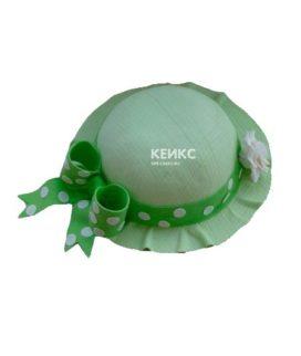 Торт зеленая женская шляпа с ленточкой