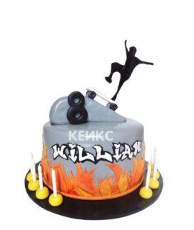 Оригинальный торт с пламям и фигуркой скейтбордиста