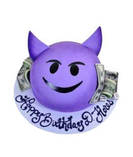 Торт фиолетовый смайлик с деньгами