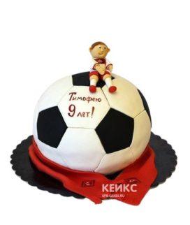 Торт ФК Спартак в виде мяча с шарфом