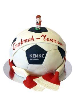 Торт Спартак в форме футбольного мяча с фигуркой футболиста