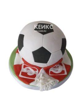 Торт Спартак в форме футбольного мяча и шарфа с символикой ФК