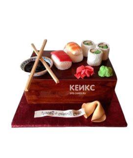 Торт в виде суши с имбирем и васаби