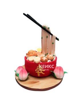 Торт суши красная миска с палочками