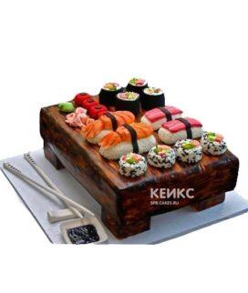 Торт в виде набора суши с палочками