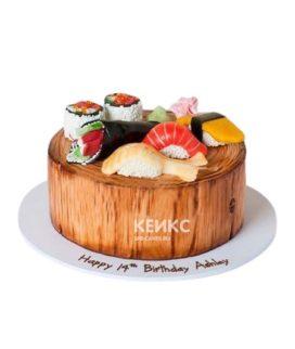 Круглый торт с разными суши