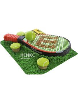 Торт теннис ракетка и мячик на траве