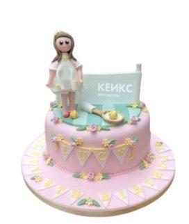 Розовый торт теннис с фигуркой