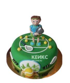 Торт теннис зеленого цвета с фигуркой