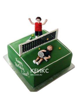 Торт теннис в виде корта с игроками