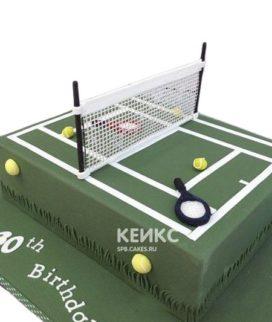Торт теннис в виде корта зеленого цвета