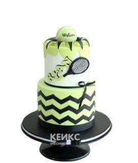 Двухъярусный торт теннис с фигуркой мячика