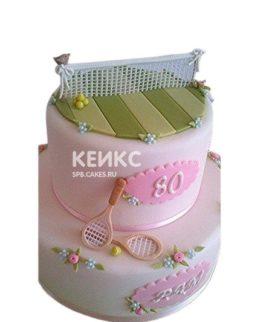 Розовый торт теннис с ракетками