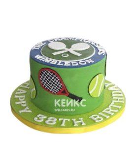Торт теннис с мячиками и ракетками