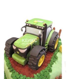 Торт зеленый трактор