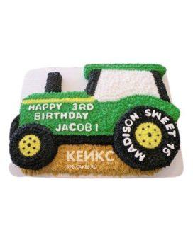 Торт в виде зеленого трактора с надписью