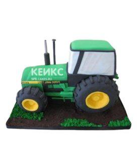 Торт трактор зеленого цвета со зверями