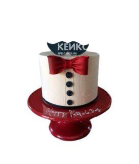 Торт в виде рубашки с бордовым галстуком бабочкой и усами