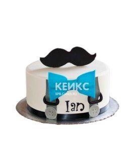 Торт для мужчины с усами из мастики