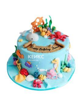 Детский торт в морском стиле с подводными жителями
