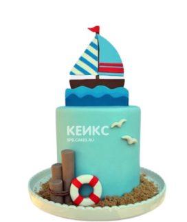 Детский торт в морском стиле с корабликом и чайками