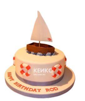 Детский торт в морском стиле с лодочкой