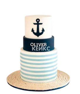 Полосатый торт с якорем в морском стиле