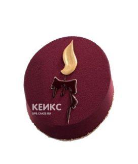 Бордовый велюровый торт со свечой