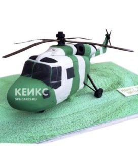 Торт бело-зеленый вертолет