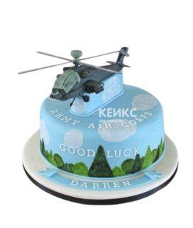 Торт с фигуркой вертолета и надписью