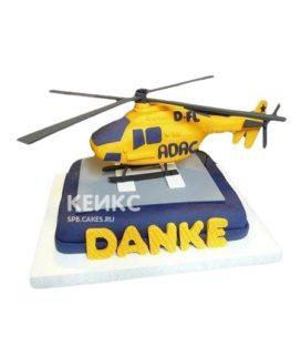 Торт в виде желтого вертолета