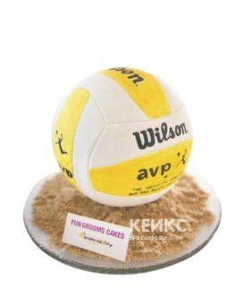 Торт волейбол в виде желто-белого мяча