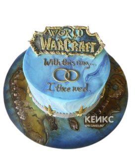 Синий торт Варкрафт с эмблемой
