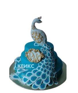 Синий торт с фигуркой Жар-птицы