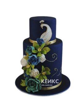 Синий торт Жар-птица с цветами