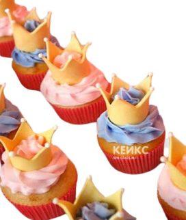 Капкейки корона розово-голубые