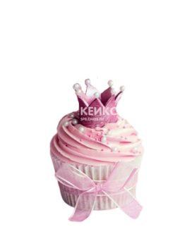Розовые капкейки с сиреневой короной