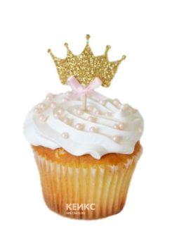 Капкейки белые с золотой короной